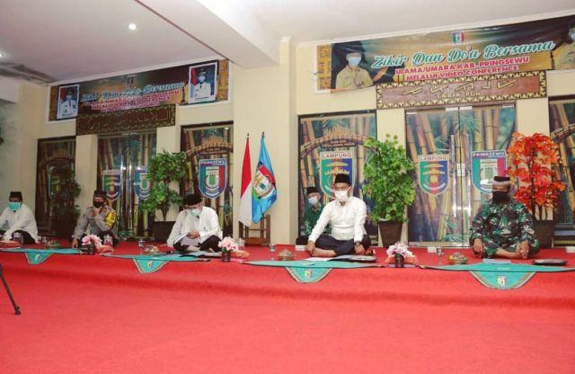Pemkab Pringsewu Ikuti Dzikir & Doa Bersama Ulama & Umaro se Provinsi Lampung By Video Conference